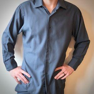 Geoffrey Beene Blue Fitted Button Down Shirt
